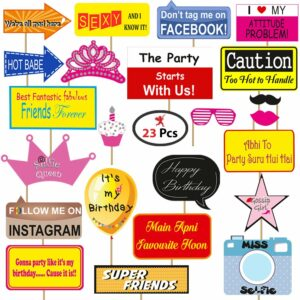 Birthday Photobooth Props Set of 23 Pieces