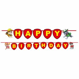 Paw Patrol Happy Birthday Banner for Paw Patrol Birthday Decoration