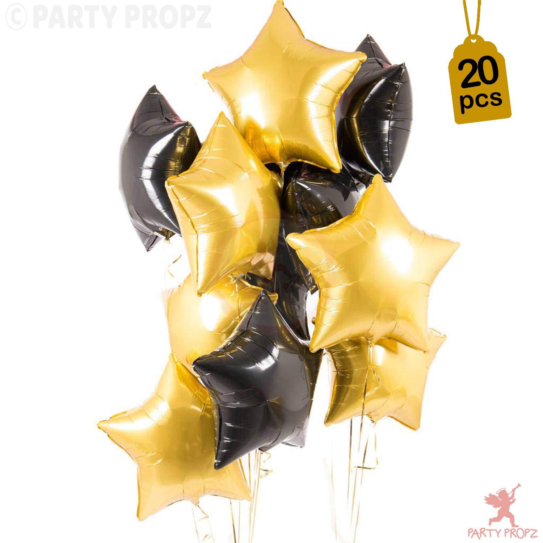 wedding balloons birthday balloons black and gold star balloons