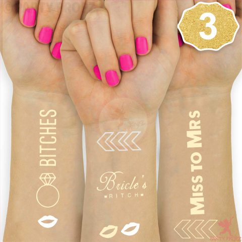 Metallic Gold Bride to Be and Bride's Maid Tattoos for Bachelorette Parties, Bridal Shower