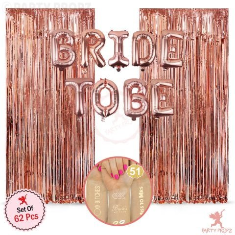 62Pcs Bride to Be Rose Gold Combo Decoration
