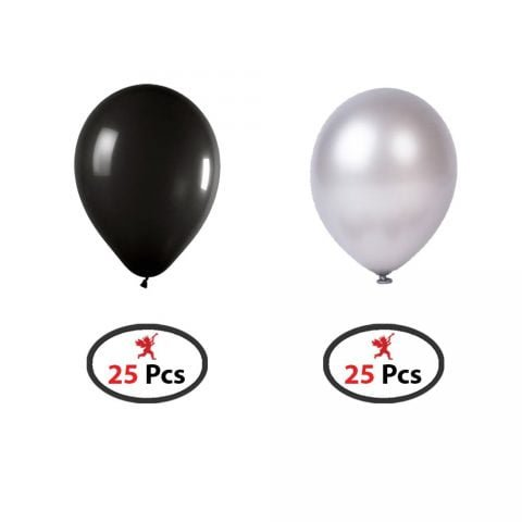 Black and Silver Balloon for 25Th Anniversary, Birthday Decoration 1