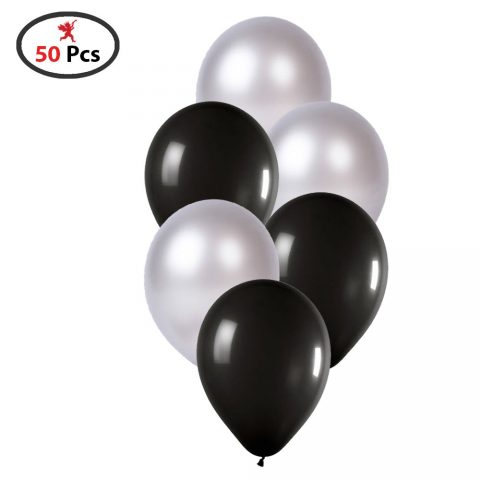 Black and Silver Balloon for 25Th Anniversary, Birthday Decoration