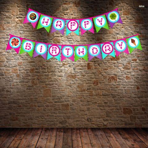Candy Birthday Bunting Banner
