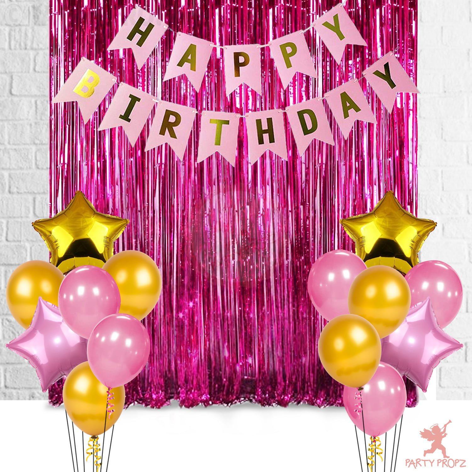 12Pcs Happy Birthday Foil Curtain, Banner And Balloons Decoration Items  Combo For Birthday Party Supplies For Girls, Wife
