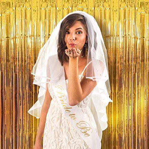 Metallic Fringe Golden Foil Curtain