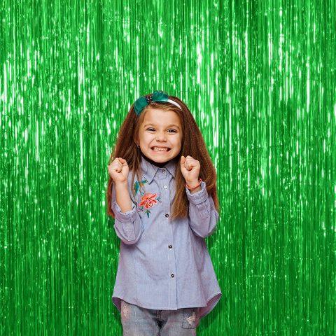 Metallic fringe Green foil curtain