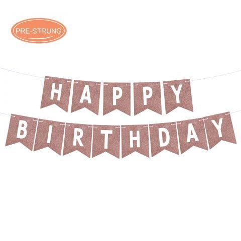 Rose Gold Real Glitter Happy Birthday Banner