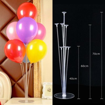 1 Set of Balloon Stand Kit Clear Table Desktop Balloon Holder with 7 Balloon Sticks, 7 Balloon Cups and 1 Balloon Base for Birthdays,Wedding Parties, Anniversary Decorations