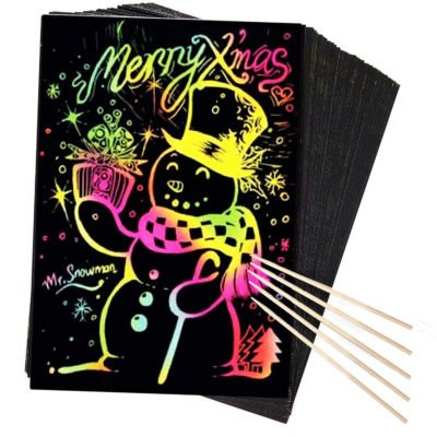 Rainbow Scratch Art and Craft Paper 30 Sheets for Kids Black Magic Scratch Art Notes Paper Boards / Perfect Travel Activity or Gift for Girls or Boys!