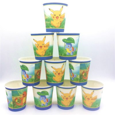 Pokeman Theme Disposable Paper Cups / Glass Party Supplies Pink 200ML Set Of 10