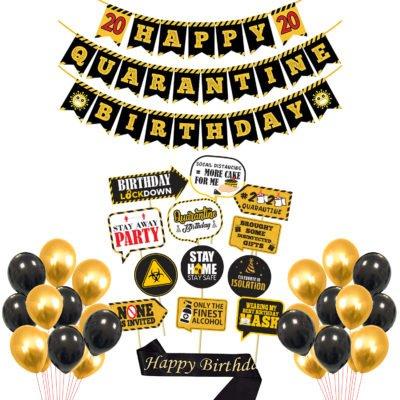 Happy Quarantine 2020 Birthday Combo Set Banner Latex Balloon Photobooth and Sash 22Pcs for Custom Social Distancing Party Decoration