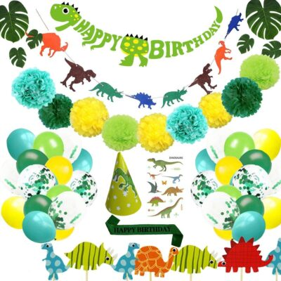 Dinosaur Party Supplies Little Dino Party Decorations Set 68Pcs for Kids Birthday Party, Baby Shower, Bridal Shower Decorations