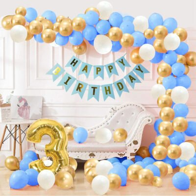 3rd Happy Birthday Balloons Decoration Kit Items Combo Blue Gold White-90Pcs for Kids Boys Adult Men Husband Second Theme Decorations/Foil Balloon,Metallic Latex Balloon,Curtain,Banner