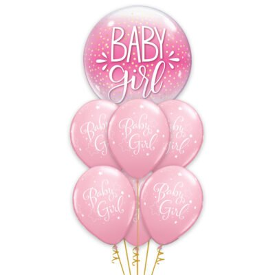 Little Princess Light Pink Baby Girl Balloon Bouquet  Set Of 7 For Baby Shower, Half Birthday, 1st Birthday, Girls Birthday Party decoration
