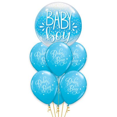 Little Prince Light Blue Baby Boy Balloon Bouquet  Set Of 7 For Baby Shower, Half Birthday, 1st Birthday, Boys Birthday Party decoration