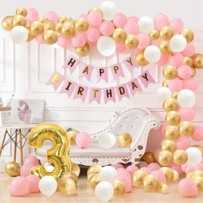 3rd Happy Birthday Balloons Decoration Kit Items Combo Pink Gold White-90Pcs for Kids Girls Adult Women Wife Second Theme Decorations/Foil Balloon,Metallic Latex Balloon,Curtain,Banner