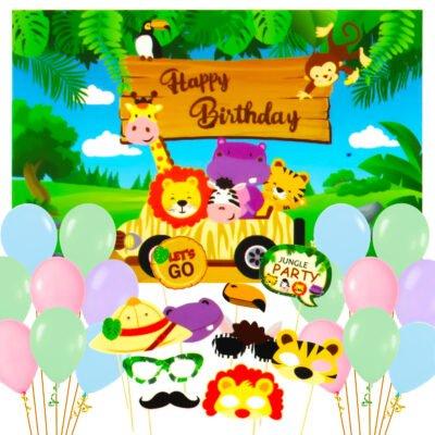 Jungle Theme Birthday Combo Set For Kids Boys Party Decoration Photobooth Balloon & Backdrop 31pcs