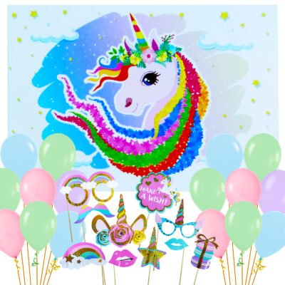 Party Propz Unicorn Theme Party Combo Backdrop Balloon And Props Set 31Pcs For Girls Birthday Decoration.