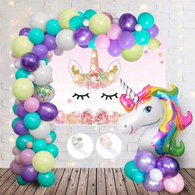 Unicorn Theme Birthday Decorations Items with Led String Lights- 65Pcs for Kids Girls Or Boys Bday Decor/Includes led Light,Pastel Balloons, Backdrop,Foil Balloon,Glue dot and arc Strip