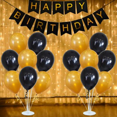 Black Happy Birthday Banner with White Warm Led String Light and Balloons Combo 32Pcs for Girls, Wife, Kids, Girl Friend Adult Birthday Party Decorations Indoor-Outdoor Party