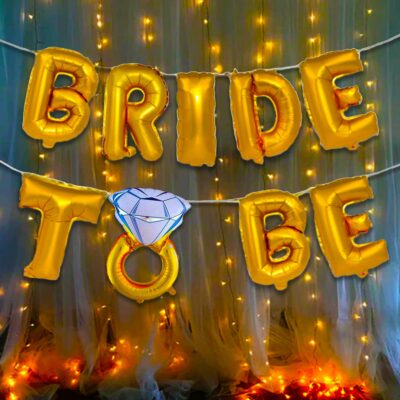 Golden Bride To Be Decoration Kit -2Pcs Bride to be ring foil balloon With Led Light Bachelorette Decorations Items For Bridal Shower Decorations Items/Bachelorette