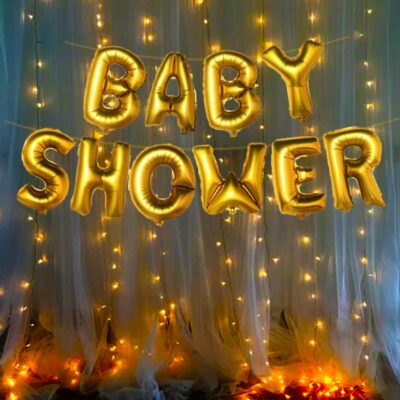 Baby Shower Decorations Material Foil Balloon with Fairy Led Light Set 2Pcs for for mom to be Gifts/Gender Reveal, Maternity, Pregnancy Photoshoot Material Items Supplies