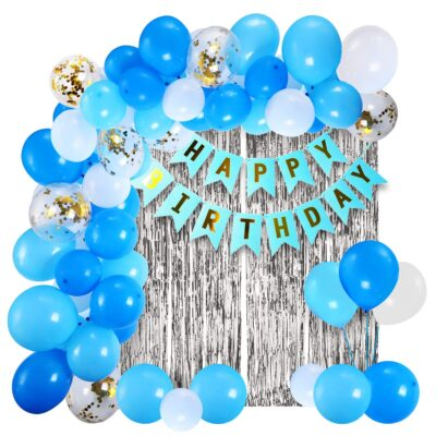 Blue Happy Birthday Decoration Kit 43pcs Combo Set Banner Silver Foil Curtain Metallic Confetti Balloons for Boys Adult Husband