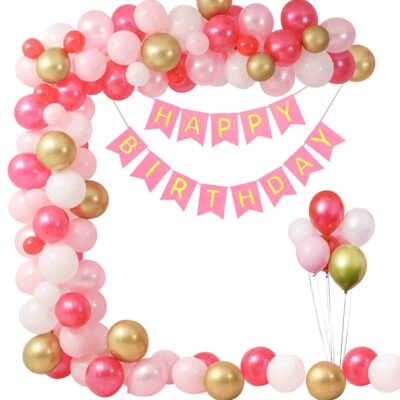 Pink Happy Birthday Decoration Kit 41pcs Combo Set Banner Balloon Metallic Confetti for Girls