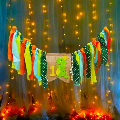 Dinosaur Theme Decoration 1st Birthday For Baby Boy Little Dino Party Set 2Pcs Burlap Banner with Fairy Light Combo for Kids / Boys Birthday Party
