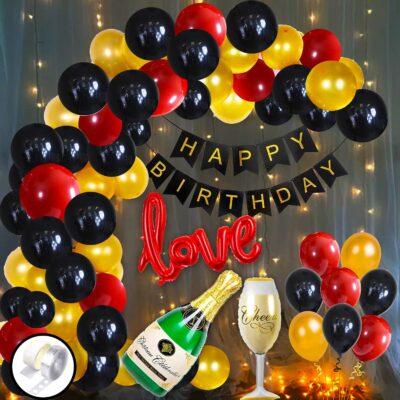 Birthday Theme Combo Decoration Kit- 57pcs Included Banner, LED Fairy Light, Foil Balloon, Latex Balloon, Balloon Arch & Glue Dot