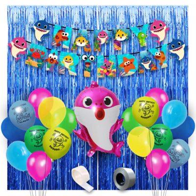 Baby Shark Theme Birthday Decorations -46Pcs Combo Set – Shark Theme Happy birthday Banner, Balloons, Foil Balloon,Foil Curtain – Baby Shark Party Supplies for Girls Or Boys – Kids Theme