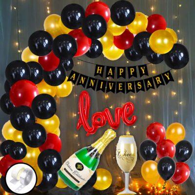 Happy Anniversary Decoration Combo Kit – 57 Pcs – Anniversary Banner + Love Foil Balloon + Metallic Balloon + Cheers & Champagne Foil Balloon + Balloon Arch + Glue Dot + LED Fairy Light