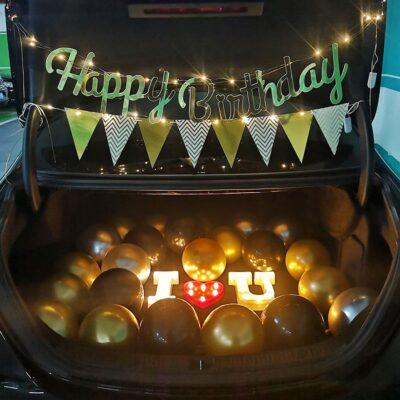 Happy Birthday Combo Happy Birthday Banner, Pennant Banner, Metallic Balloon, LED Fairy Light