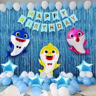 Baby Shark Theme Birthday Decorations Kit -72Pcs Combo Set – Blue Happy Birthday Banner, Shark Theme Foil Balloon, Metallic Balloons, Foil Curtains-Girls Or Boys Baby Shark Party Supplies