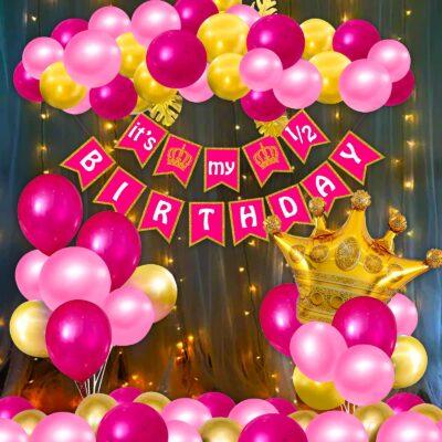 Half Birthday Decorations For Baby Girl Combo – 33Pcs Items Set For 6 Months Birthday Decorations For Girl – 1/2 Birthday Decorations For Girls – Half Bday Banner, Balloons,Lights