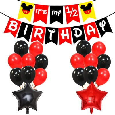 Half Birthday Decorations for Baby Boy Combo – 28Pcs Items Set for 6 Months Birthday Decorations for Boy – 1/2 Birthday Decorations for Boys – Half Bday Banner, Balloons, Cake Toppers