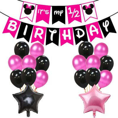 Half Birthday Decorations for Baby Girl Combo – 28Pcs Items Set for 6 Months Birthday Decorations for Girl – 1/2 Birthday Decorations for Girls – Half Bday Banner, Balloons, Cake Toppers