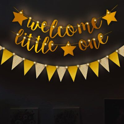 Baby Boy Or Girl Welcome Home Decoration Kit 3Pcs Foil Banner with String Fairy Light for Baby Shower / Welcome / Birthday Supplies