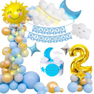 2nd Birthday Decoration Items For Boys -100Pcs Blue Birthday Decoration – 2nd Birthday Party Decorations,Birthday Decorations kit for Boys 2nd birthday/ Baby Birthday Decoration Items 2 Year